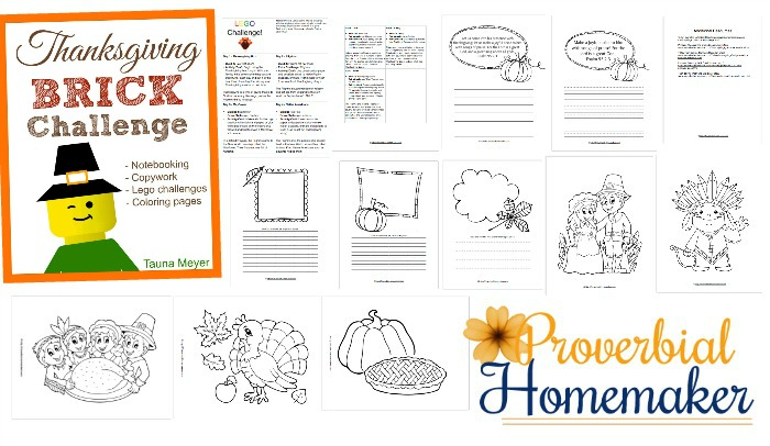 Freebie! Enjoy fun Lego challenges, coloring pages, and more with this FREE Thanksgiving Brick Challenge printable!