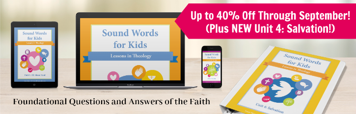 Sound Words for Kids: Lessons in Theology helps you equip your children to stand on biblical truth in just a few minutes a day! Lessons include devotions, coloring pages, memory verses, copywork, notebooking, and more.