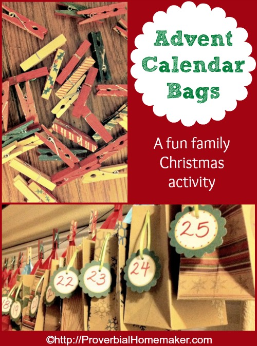 Activity bags for advent tradition