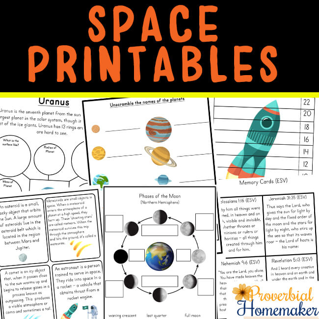 Teach your kids about the wonders of creation with this Space Unit printable pack and a roundup of space activities to go with it! #homeschool #preschool #kindergarten #printable