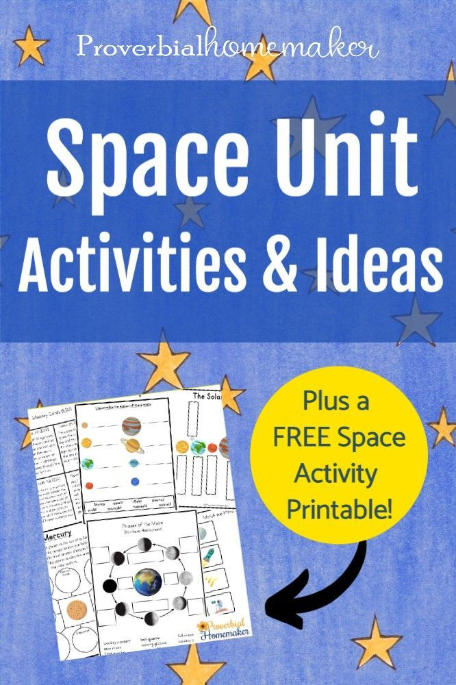 Teach your kids about the wonders of creation with this Space Unit printable pack and a roundup of space activities to go with it!