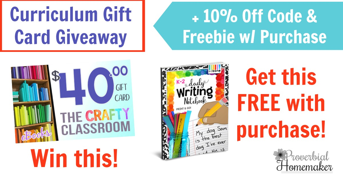 Enter the Crafty Classroom Curriculum Gift Card Giveaway and get 10% off any order plus a FREE writing pack with purchase!