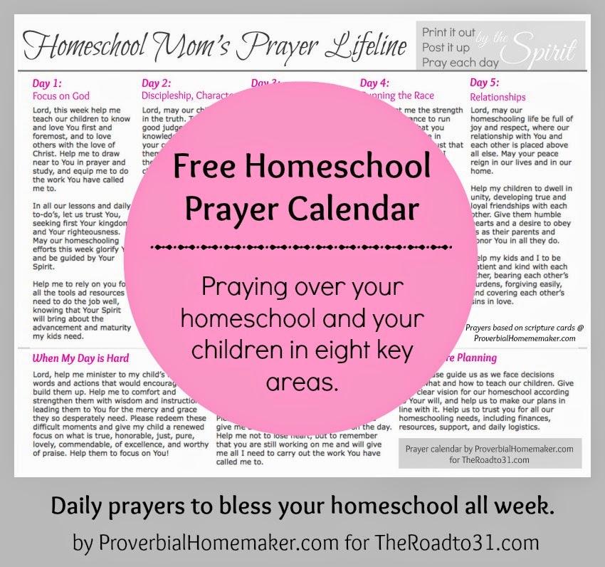 Free Prayer Calendar for Homeschool Moms - Proverbial Homemaker