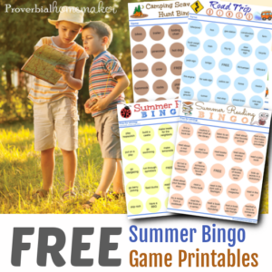 Summer Bingo Game Printable pack includes camping bingo cards, summer reading bingo cards, road trip bingo cards, and summer activities bingo cards