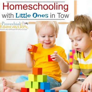 "Trying to homeschool with little ones in tow? Here are some tips to manage the chaos and take care of the youngers so you can ""do school"" with the olders!"