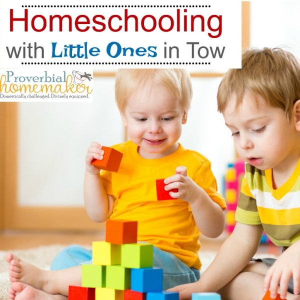 Trying to homeschool with little ones in tow? Here are some tips to manage the chaos and take care of the youngers so you can