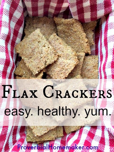 Gluten-free, dairy-free flax crackers snack