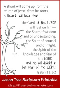 FREE Jesse Tree scripture printable of Isaiah 11:1-2.