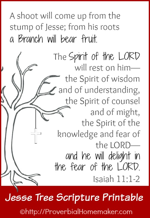 FREE Jesse Tree scripture printable of Isaiah 11:1-2.