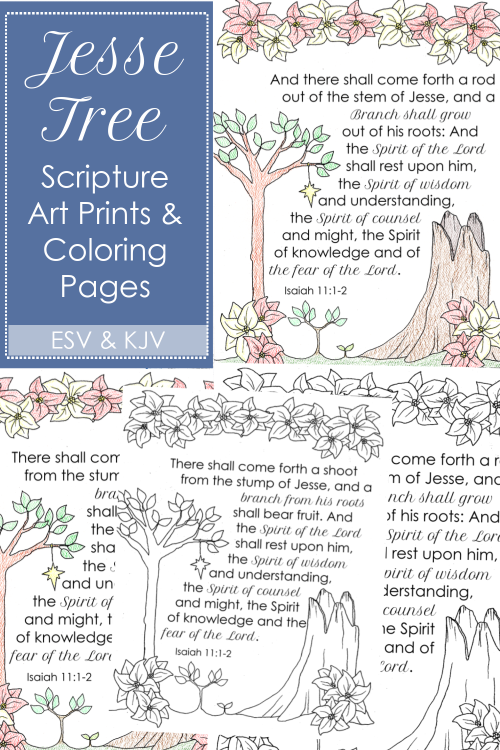 The Jesse Tree is a Christmas activity that families use to walk through the story of Jesus from creation to incarnation. Begin the Jesse Tree tradition in your home during Advent this year and use this beautiful custom-illustrated Jesse Tree Scripture art print and coloring page to start!