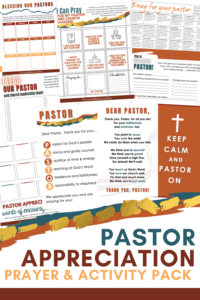 """Pray for your pastor and find great ways to bless him with this Pastor Appreciation Printable Pack! Includes pastor appreciation cards with poems, prayer calendars, an """"about my pastor"""" page, and more!"""