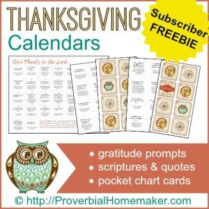 Thanksgiving Calendars Freebie