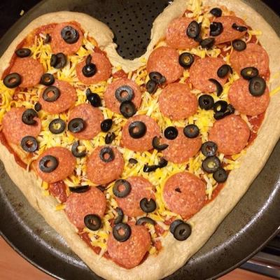 Heart Pizza Valentine's Day Family Dinner