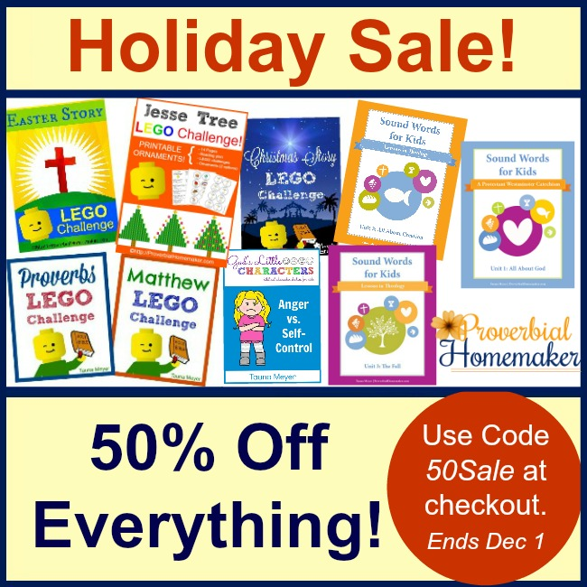 50% off all products in the Proverbial Homemaker store!