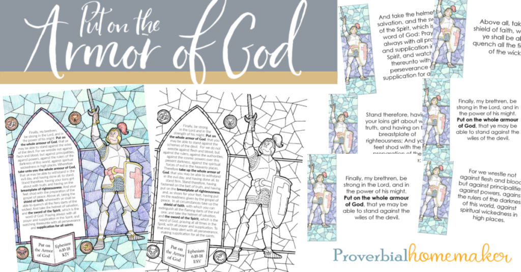 Download this beautifully illustrated armor of God printable pack! Great resource to teach the Scriptures and the armor of God for kids.