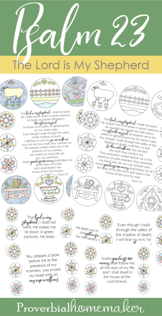 The Lord is My Shepherd Printable! Memorize Psalm 23 as a family with this beautiful Scripture printable pack! Includes custom illustrations, memory verse cards, and a coloring page, as well as Psalm 23 prayer.