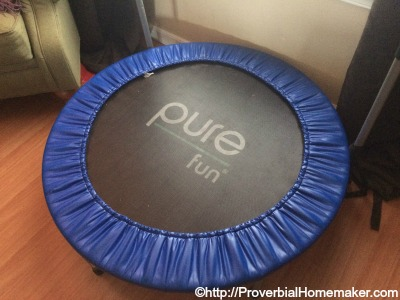 Indoor trampoline for homeschooling and parenting sanity