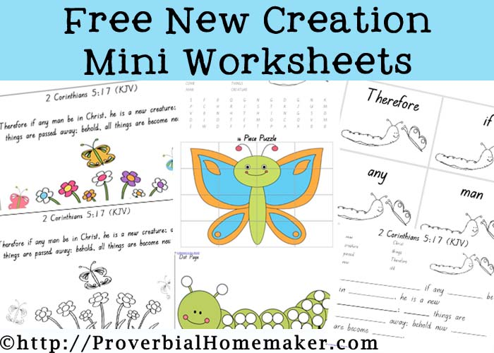 New Creation in Christ butterfly life cycle printable