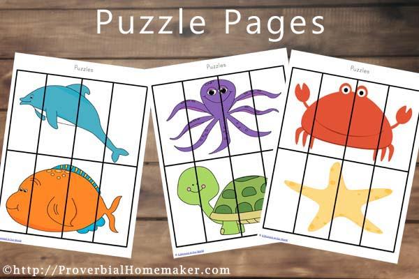 Ocean Animal Printables Puzzles a