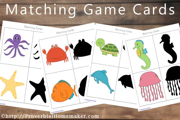Ocean Animals Printables Matching Game Cards