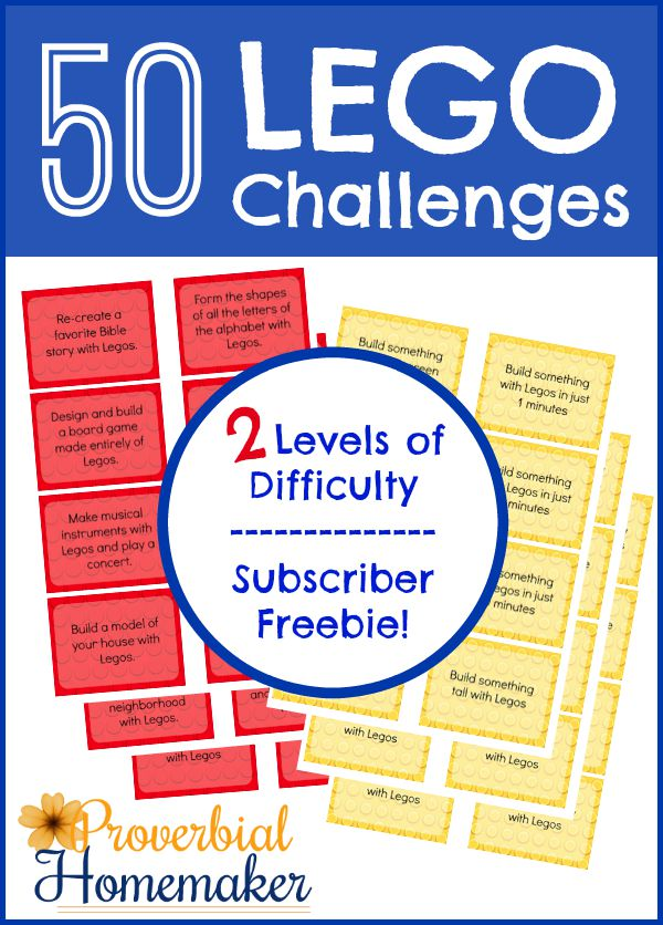 50 Lego Challenges - Printable challenge cards with two difficulty levels, FREE for subscribers!