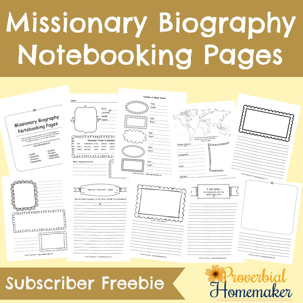 Missionary Biography Notebooking Pages Subscriber Freebie