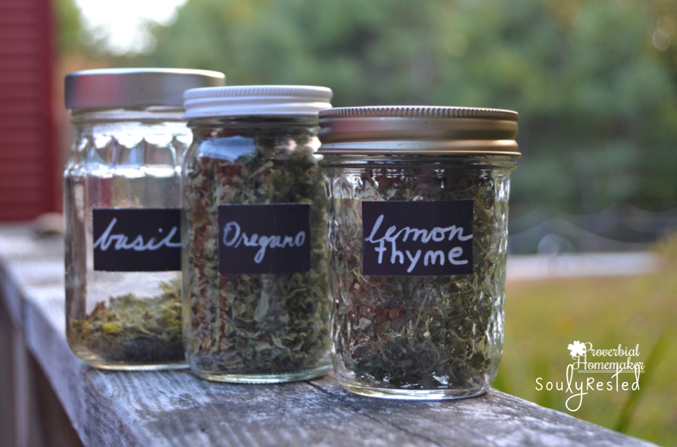 Drying Herbs and labeling with chalk paper