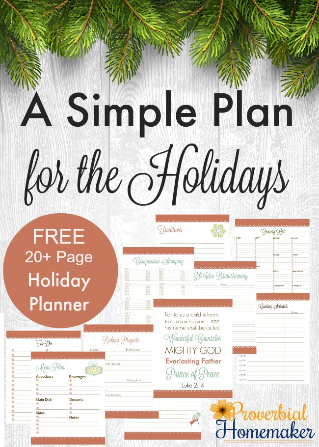 A Simple Plan for the Holidays Free 20+ page holiday planner PIN