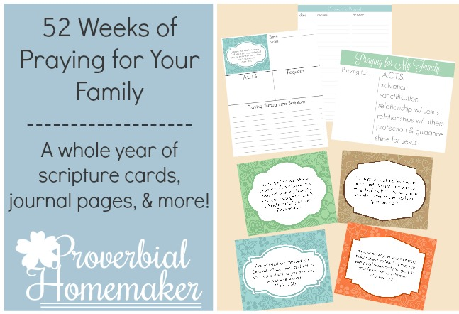 Check out this HUGE printable with 52 weeks of scripture cards and journal pages - start praying for your family today!