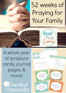 Check out this HUGE printable with 52 weeks of scripture cards and journal pages to help you pray for your family!