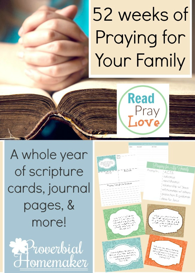 Check out this HUGE printable with 52 weeks of scripture cards and journal pages! Huge help with praying for your family