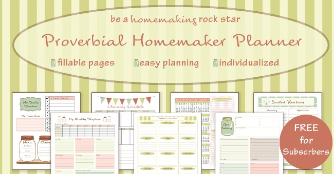 A beautiful and efficient homemaking planner free for subscribers!