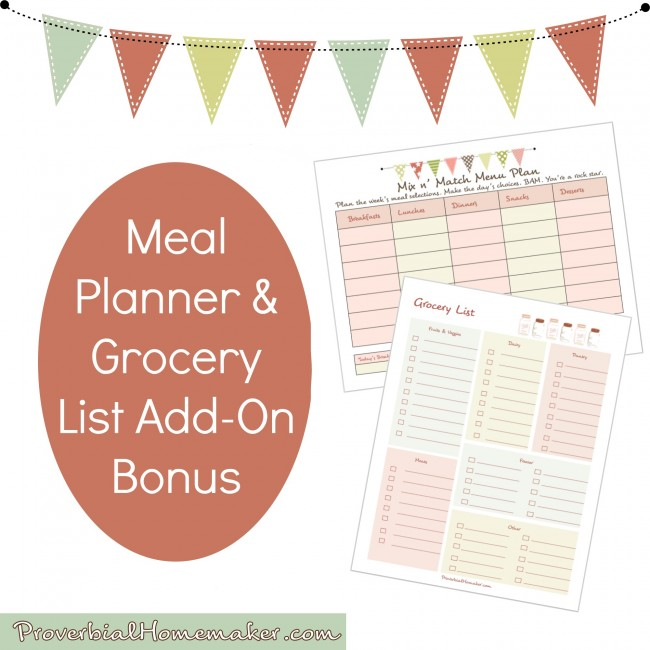 Receive this fantastic add-on bonus for enrolling in the Homemaking System ecourse - A flexible mix and match meal planner and easy to use grocery list template!