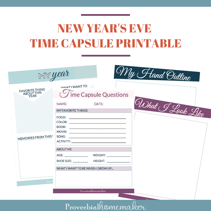 Download this fun New Year time capsule questions printable for a fun and family friendly New Year's Eve tradition!