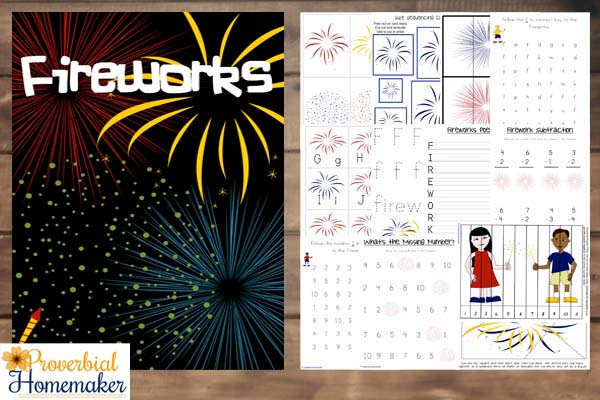 Love this fireworks printable pack for celebrating holidays! Great for July 4th or the New Year!