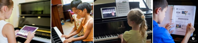 Children learning piano through the comprehensive lessons with Hoffman Academy online. A fun and affordable option for families!