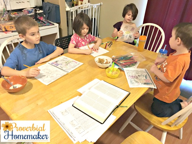 Using Picture Smart Bible for family devotions during breakfast