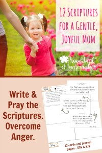 Love this simple system for memorizing scripture and praying through it! 12 Scriptures for Overcoming Anger with scripture cards and writing page FREE