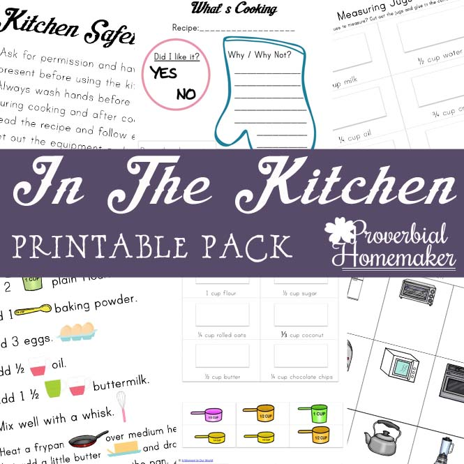 This fun Kids in the Kitchen printable pack will help your kids learn about kitchen safety, tools, measurement, and more! Includes recipes, too!