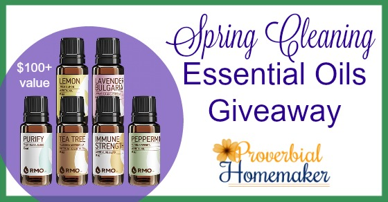 Great giveaway! These oils are perfect for cleaning recipes and much more. -- RMO Spring Cleaning Essential oils Giveaway