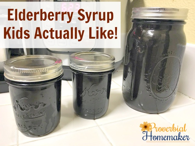 Finished jars of cold and flu fighting syrup - making elderberry syrup kids like!