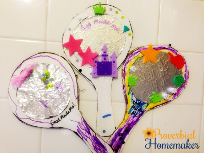 Kids make mirrors using cardboard and foil, with reminders that they are God's creation. A great way to teach kids God made them special!