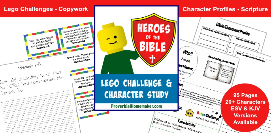 The Heroes of the Bible Lego Challenge and Character Study is a fun way to enrich your homeschool or family devotions. This 95-page printable combines the creativity of Lego build challenges with a study of over 20 characters in the Bible! Build examples and scripture memory cards help aid learning (ESV and KJV available)