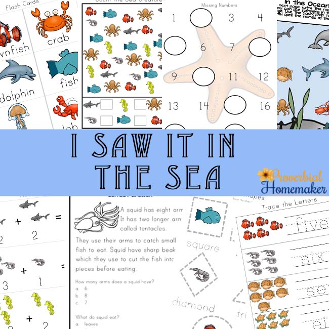 I Saw it in the Sea Ocean Animals Printable Pack