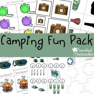 Download the camping printable pack for a fun and educational camping activity!