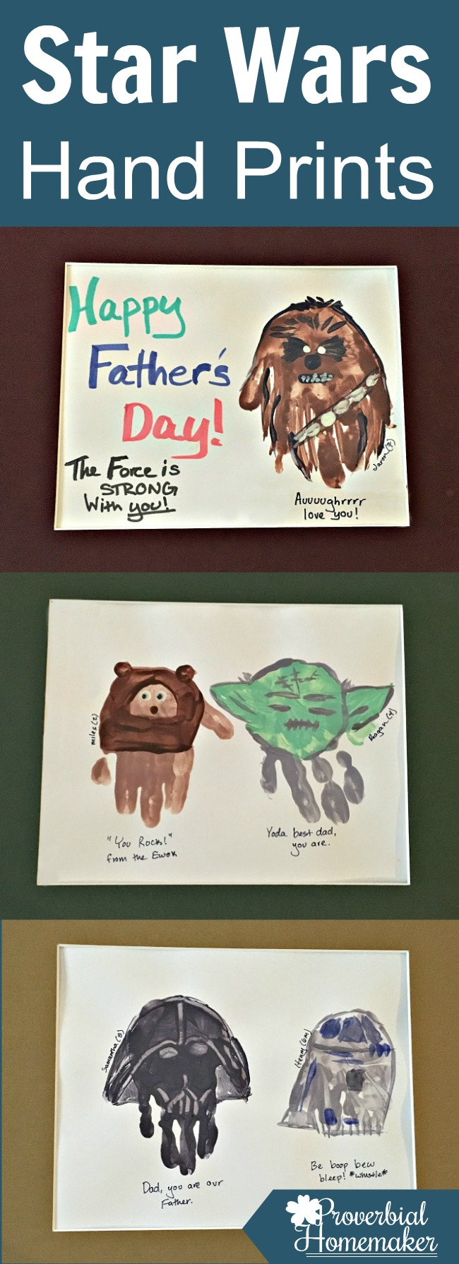 Star wars hand prints for father 39 s day proverbial homemaker for Star wars arts and crafts