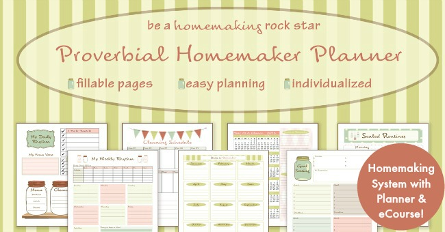 Proverbial Homemaker Planner - A beautiful and efficient homemaking planner and ecourse for the domestically challenged!