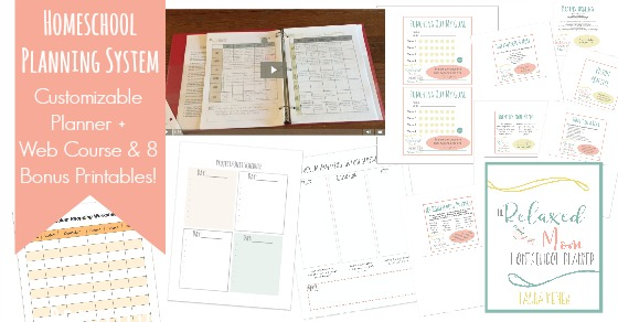 Check out all the bonus printables that come with the web course in this homeschool planning system!