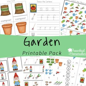Fun learning activities while gardening with your kids! Download this garden printable pack for ages 2-9!