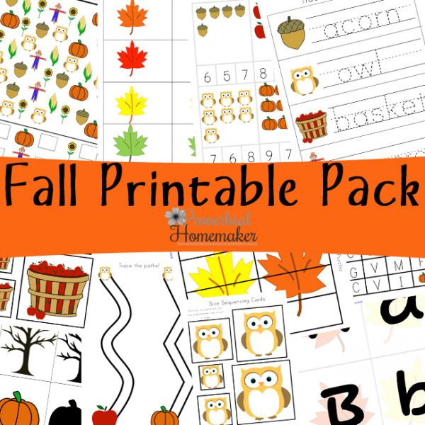 Get the Fall Printable Pack for a fun way to study the season with your kids! 80+ pages for children ages 2 - 9 - games, vocabulary, and more!